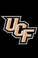 Black rectangle with the golden letters UCF in the center.