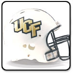 White UCF helmet with gold lettering and a black face mask.  A black border surrounds the shadowed square shaped image.