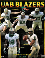 Golden letters spelling UAB Blazers atop a poster featuring football players kicking, blocking, lining up, and passing - all wearing white uniforms with gold pants.