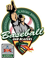 Drawing of a male baseball player holding a bat on his shoulder and pointing up and out. The player is above the word baseball which is above the UAB Blazers triangle shaped green dragon logo.