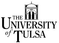 White background behind black lettering and logo reading The University of Tulsa.