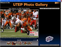 Screen image of computer background with UTEP logos and football players.