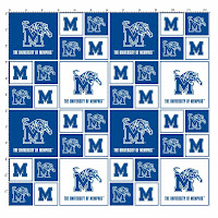 Checkered pattern design of blue and white logos of the Memphis Tiger leaping over the M logo.