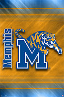 A gold and blue banner with the University of Memphis Tiger jumping through the M logo.