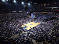 Packed crowd at Memphis Tiger basketball game as viewed from the upper corner of the arena.