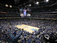 A sold out crowd at a University of Memphis basketball game viewed from the upper deck.