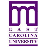 Purple and white East Caroline University logo with archway.