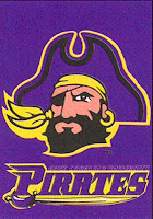Purple East Carolina University banner with large bearded mascot pirate head.