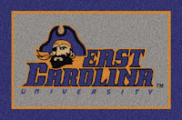 East Carolina University flag with pirate head logo.