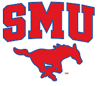 SMU red block letters with red mustang logo.
