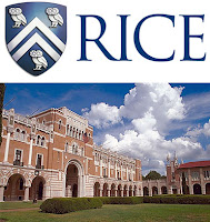 Blue and white Rice logo with owls above quad at college.