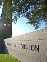 University of Houston stone sign on campus.