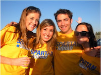 San Jose State Spartan fans in yellow shirts.