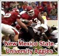 New Mexico State University Aggies football players carry the ball against opponents.