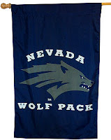 Nevada wolf pack flag with gray wolf.