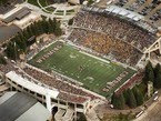 Aerial view of University of Wyoming football game.