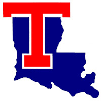 Louisiana Tech logo with big red T and blue Louisiana state outline.