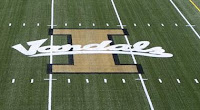 Vandals mid football field logo.
