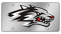 Lobos silver license plate.