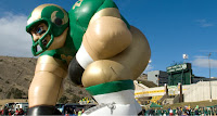 Giant inflatable CSU football player.