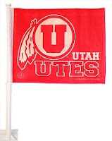 Utah Utes red flag for car window.