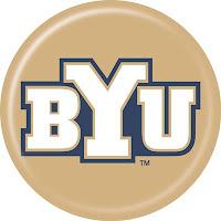 Gold disk BYU logo.