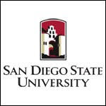 Simple San Diego State University logo on white background.