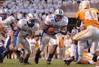 Air Force Academy football player carries the ball against Tennessee.