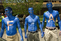 Air Force fans paint their chests blue and silver.