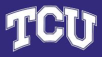 Purple and white TCU letters logo.