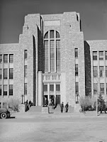 Old picture of landmark brick building at University of Wyoming.