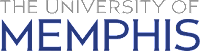 The University of Memphis title in gray and blue text on a white background.