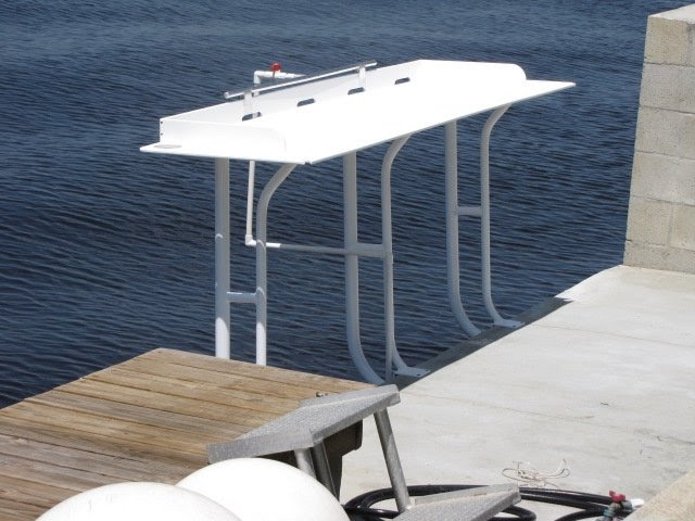 Custom t top boat tops flats towers fish tables fillet for Fish cleaning tables