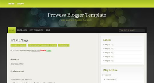 Prowess Huge Compilation of Best Blogger Templates Released in 2010 | Blogspot Toolbox