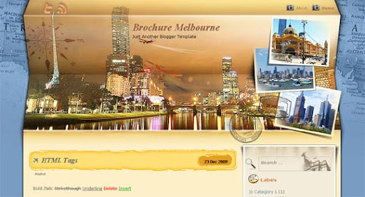Brochure+Melbourne Huge Compilation of Best Blogger Templates Released in 2010 | Blogspot Toolbox