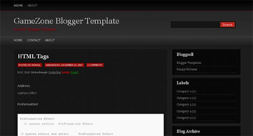 Gamezone Huge Compilation of Best Blogger Templates Released in 2010 | Blogspot Toolbox