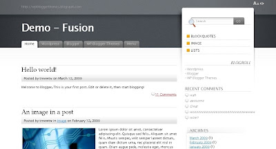 fusion Visually Impressive and Smashing Blogger Templates
