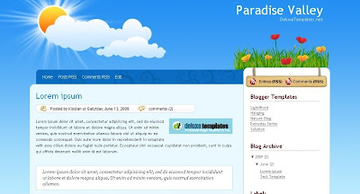 Paradise+Valley Visually Impressive and Smashing Blogger Templates