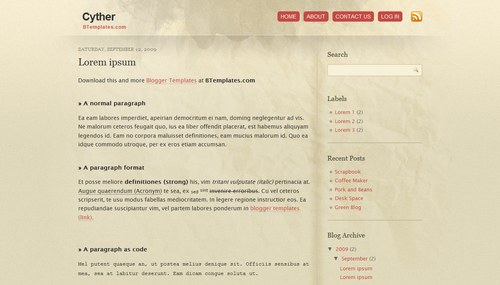 Cyther 40+ New and Fresh Blogger Templates