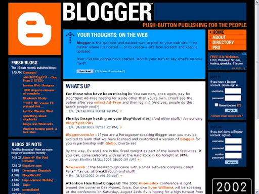 2002 Blogger Platform Over the Years (Pictures) (1999   2009)