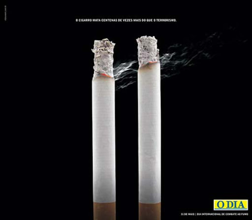 Cigarette+kills+a+hundred+times+more+than+Terrorism 65 Creative Anti Smoking Ad Campaigns Dedicated to World No Tobacco Day