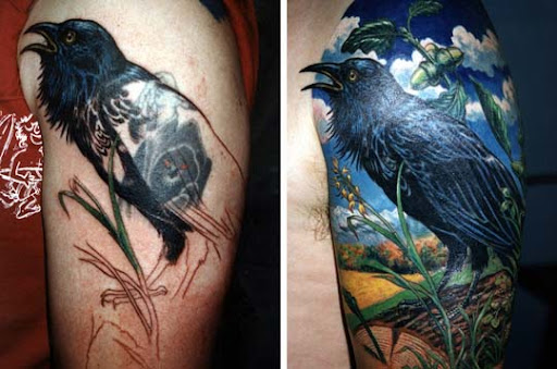 Raven coverup on Bart by claudiatat2 Incredible Tattoo Designs and Body Art to Inspire You