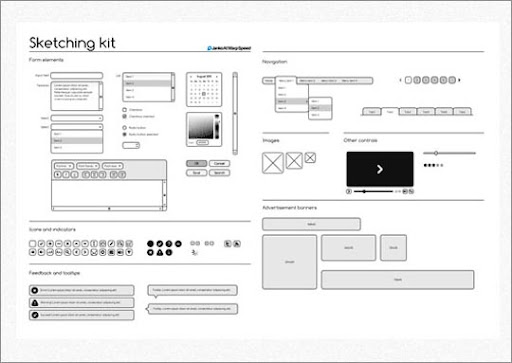 Sketching+Wireframing+kit Useful Free Web UI Elements PSD Packs