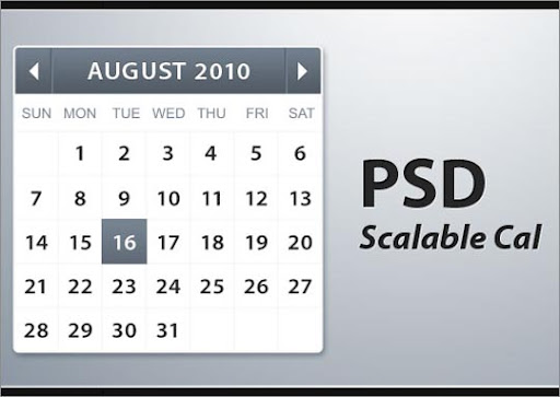 Scalable+calendar Useful Free Web UI Elements PSD Packs