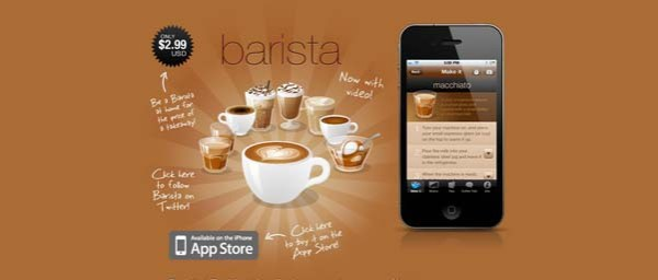 Barista+iPhone+Application Best Examples of iPhone Apps Websites Designs