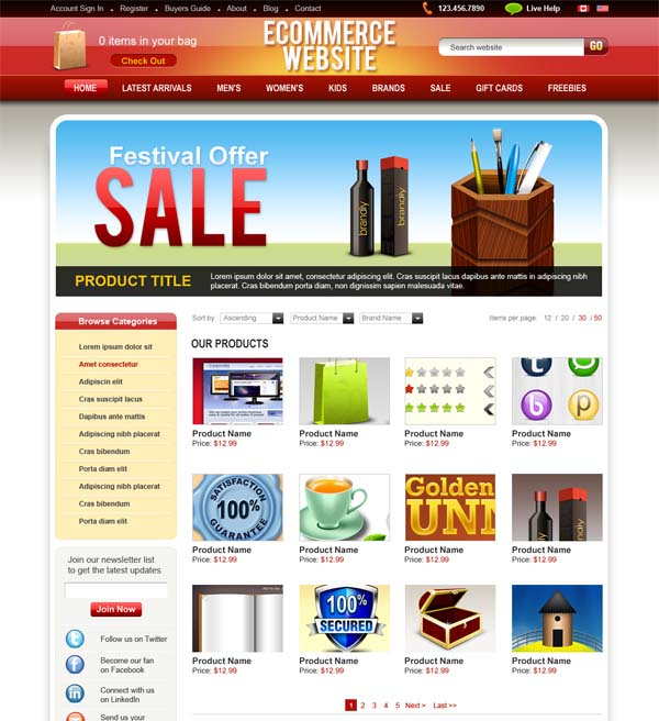PSD+ecommerce+website+template 80+ Free Editable PSD Website Templates