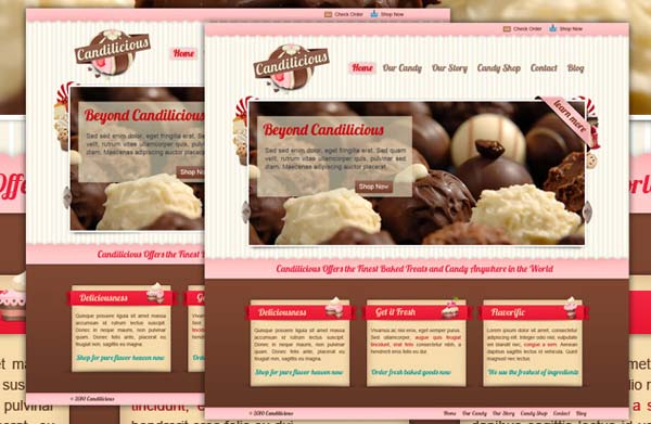 Candilicious+Free+PSD+Website+Template 80+ Free Editable PSD Website Templates