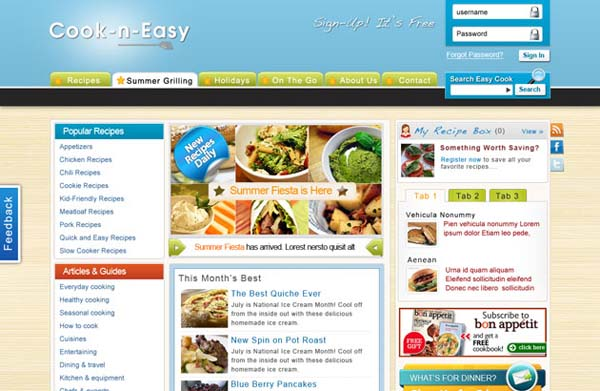 Cook N Easy+Free+PSD+Website+Template+for+Cooking Inspired+Website 80+ Free Editable PSD Website Templates