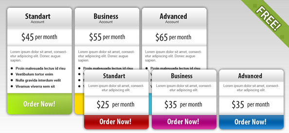 Pricing Table PSD UI Element