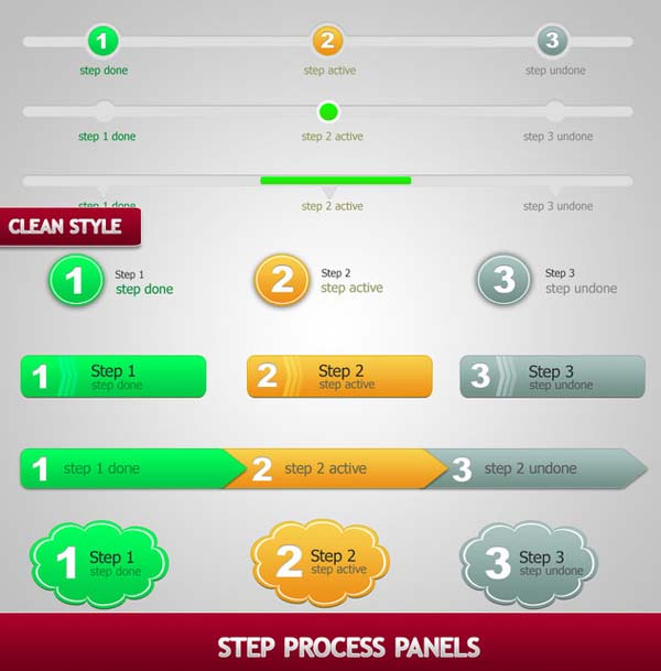 step process panels sets  psd by bluex design 80+ Free PSD Web UI Elements For Download